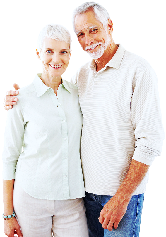 senior man and woman smiling