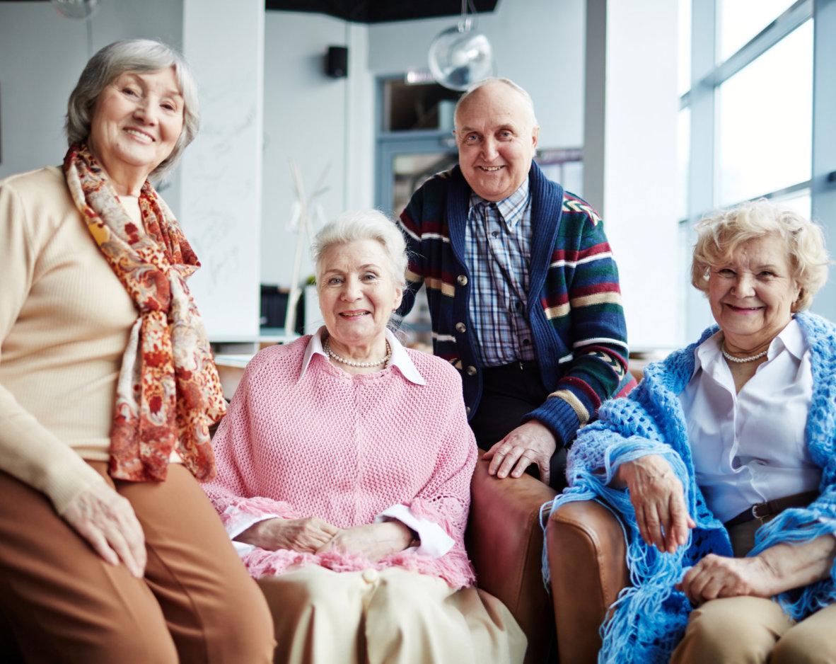 senior women and man smiling