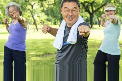 senior women and man exercising